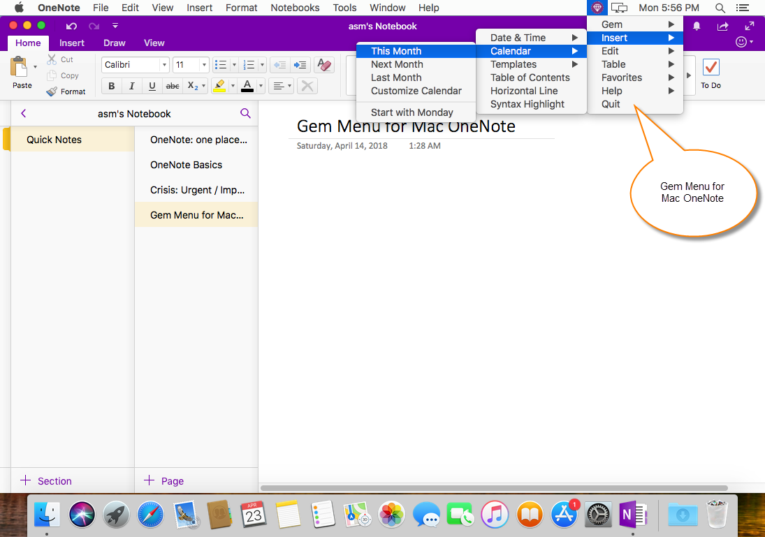 Gem Menu for Mac OneNote